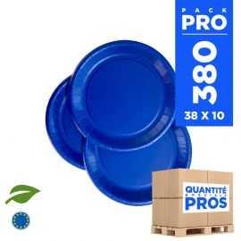 380 Assiettes carton 18cm Biodégradables bleu marine