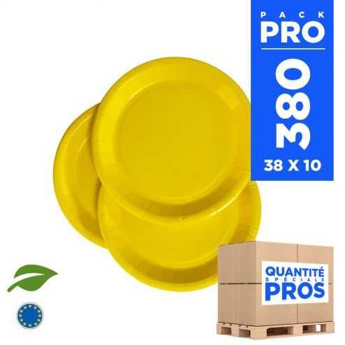 380 Assiettes carton 18cm Biodégradables jaunes