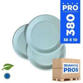 380 Assiettes carton 18cm Biodégradables bleu pastel
