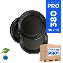 380 Assiettes carton 18cm Biodégradables noires