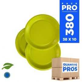 380 Assiettes carton 18cm Biodégradables vert anis