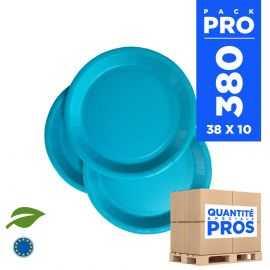 380 Assiettes carton 18cm Biodégradables turquoise