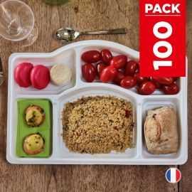 Pack 100 Plateaux repas 5 cases Recyclables - Réutilisables