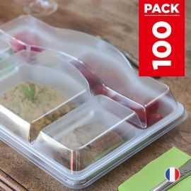 Pack 100 Plateaux repas + Couvercles Recyclables - Réutilisables