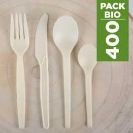 Pack 400 Couverts Amidon de maïs Biodégradables - Compostables