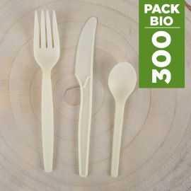 Pack 300 couverts Amidon de maïs Biodégradables - compostables.