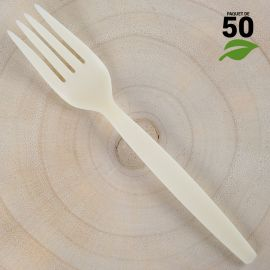 Fourchettes amidon de Maïs 16cm Biodégradables - Compostables. Par 50