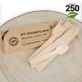 250 Sachets couverts bois. 4 en 1. Biodégradable. Fourchette + Couteau + Petite cuillère + serviette kraft