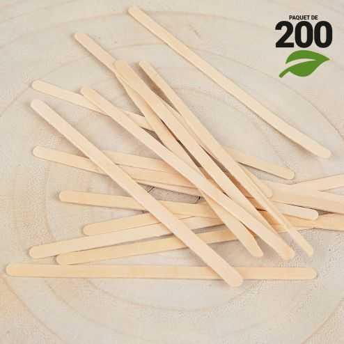 200 Agitateurs bois 11 cm. Biodégradables.