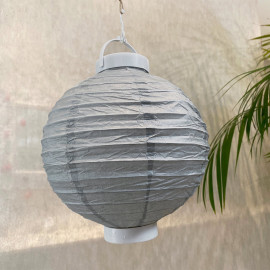 Lampion lumineux gris 20 cm.