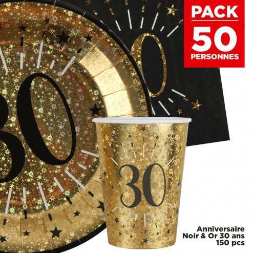 Pack 50 personnes Anniversaire 30 ans Noir et Or