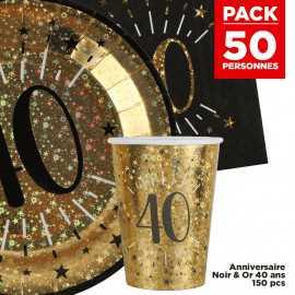 Pack 50 personnes Anniversaire 40 ans Noir et Or