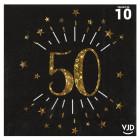Pack 50 personnes Anniversaire 50 ans Noir et Or