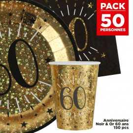 Pack 50 personnes Anniversaire 60 ans Noir et Or