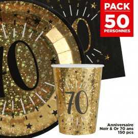 Pack 50 personnes Anniversaire 70 ans Noir et Or