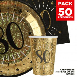 Pack 50 personnes Anniversaire 80 ans Noir et Or