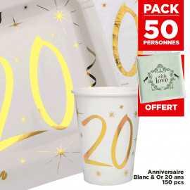 Pack 50 personnes Anniversaire 20 ans Blanc et Or