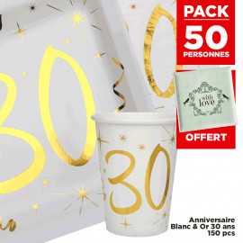 Pack 50 personnes Anniversaire 30 ans Blanc et Or