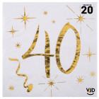Pack 50 personnes Anniversaire 40 ans Blanc et Or