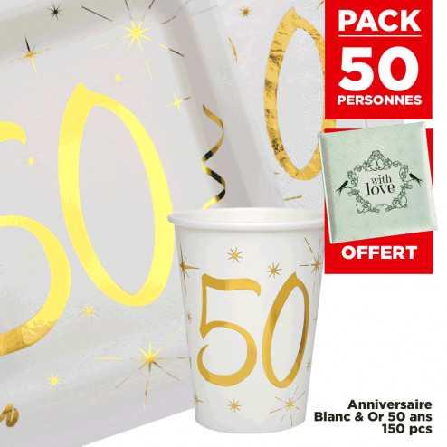 Pack 50 personnes Anniversaire 50 ans Blanc et Or