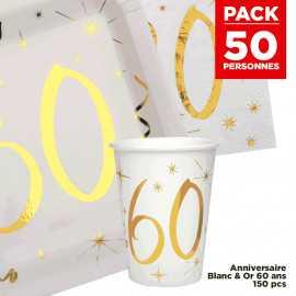 Pack 50 personnes Anniversaire 60 ans Blanc et Or