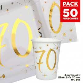 Pack 50 personnes Anniversaire 70 ans Blanc et Or