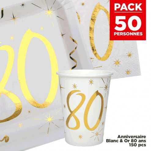 Pack 50 personnes Anniversaire 80 ans Blanc et Or
