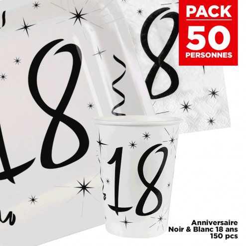Pack 50 personnes Anniversaire 18 ans Noir et blanc