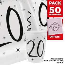 Pack 50 personnes Anniversaire 20 ans Noir et blanc