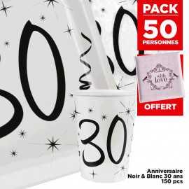 Pack 50 personnes Anniversaire 30 ans Noir et blanc