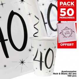 Pack 50 personnes Anniversaire 40 ans Noir et blanc