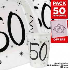 Pack 50 personnes Anniversaire 50 ans Noir et blanc
