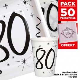 Pack 50 personnes Anniversaire 80 ans Noir et blanc
