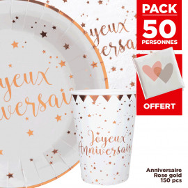 Pack 50 personnes Anniversaire Rose gold