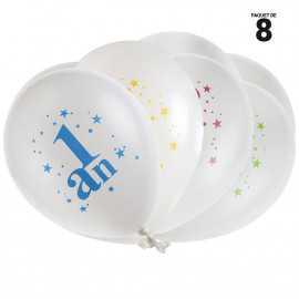 8 ballons gonflables 23 cm joyeux anniversaire 1 an