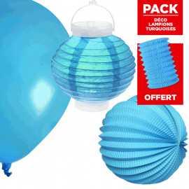 Pack décoration de salle Lampions Turquoise