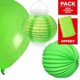 Pack décoration de salle Lampions verts