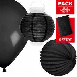 Pack décoration de salle Lampions noirs