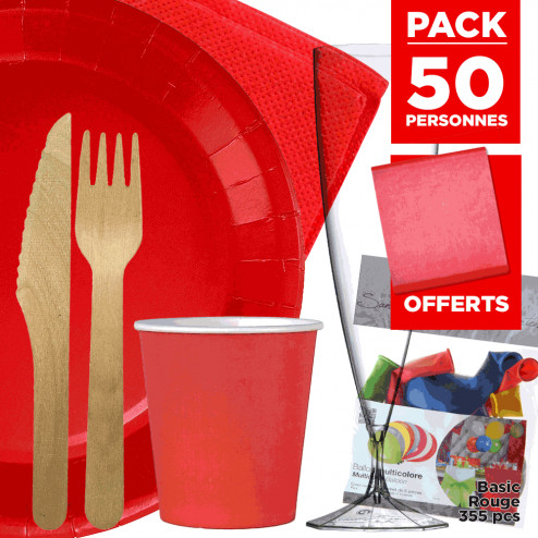 Pack 50 personnes Basic rouge