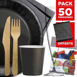 Pack 50 personnes Basic noir