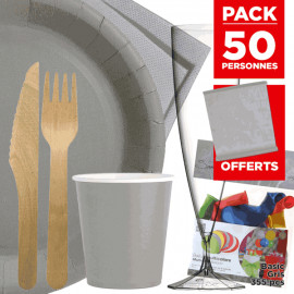 Pack 50 personnes Basic gris