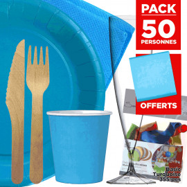 Pack 50 personnes Basic turquoise