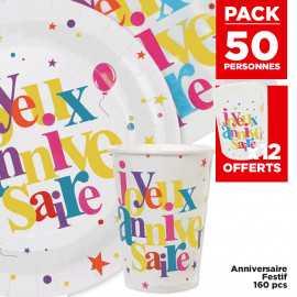 Pack 50 personnes Anniversaire festif multicolore