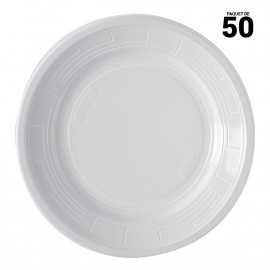 Assiettes rondes blanches design 22 cm. Recyclables. Par 50.