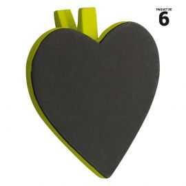 6 ardoises coeur sur pince bois, vert. 5 cm.