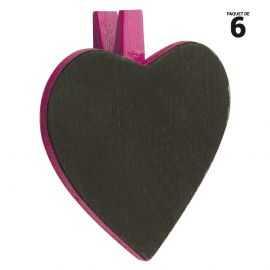 6 ardoises coeur sur pince bois, fuchsia. 5 cm.