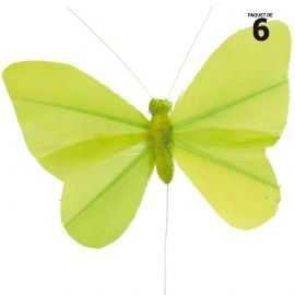 6 papillons unis en plumes vertes sur tige. 8,5 cm