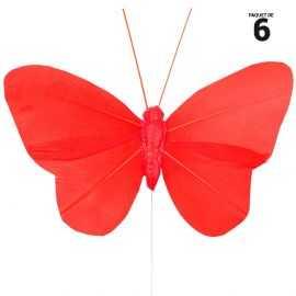 6 papillons unis en plumes rouge sur tige. 8,5 cm
