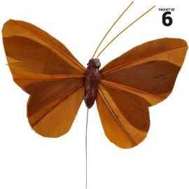 6 papillons unis en plumes chocolat sur tige. 8,5 cm