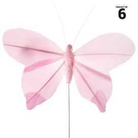 8 papillons unis en plumes rose sur tige. 8,5 cm